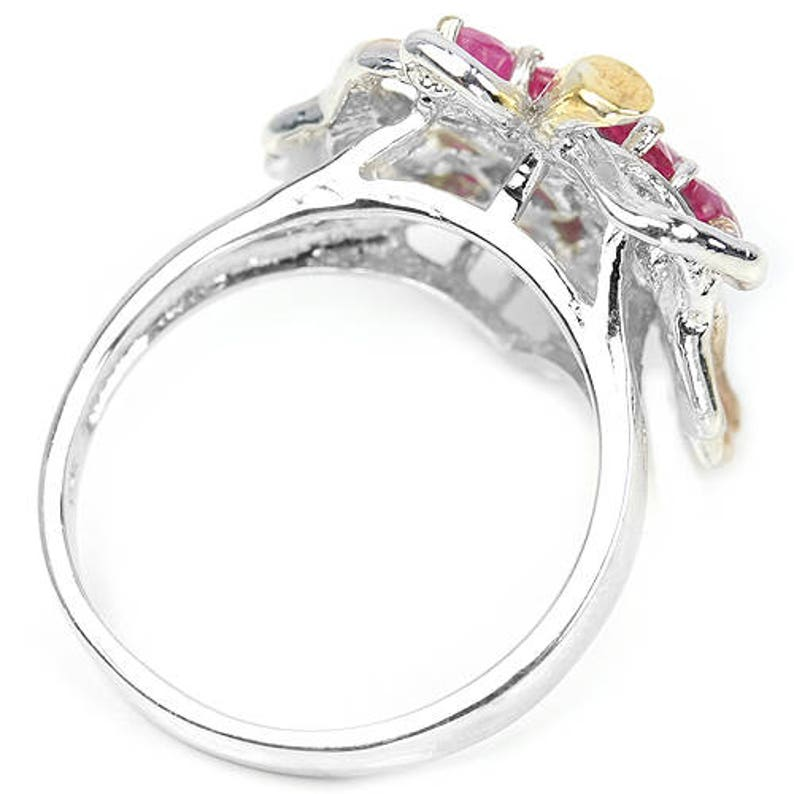Baroque Versailles Marie Antoinette 14k White Yellow /& Rose Gold Vermeil Ruby Grapes and Vine Leaves Ring USA 8, UK Q Truly Venusian