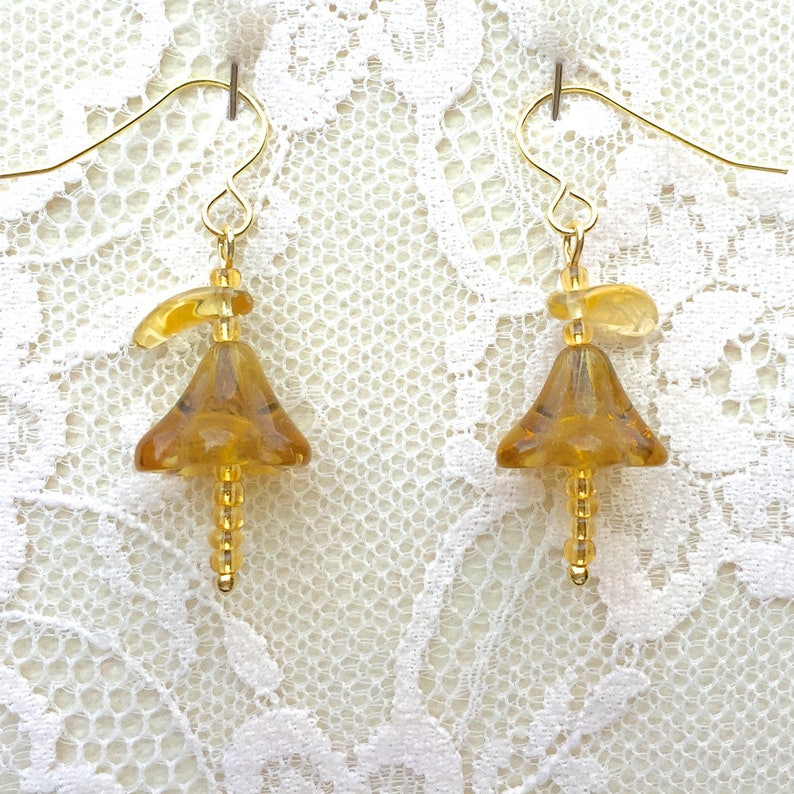 Vintage Gold Glass Fuscia Flowers /& Leaves and 14ct Gold Vermeil Dropper Earrings Truly Venusian