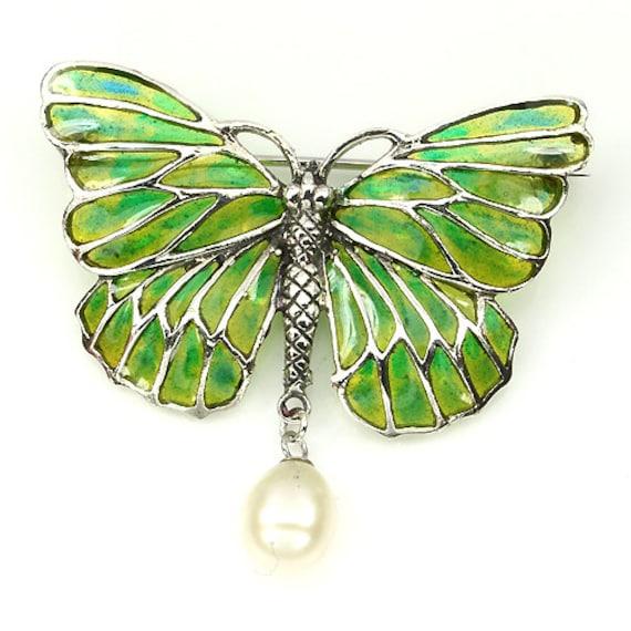 Truly Venusian Edwardian Downton Abbey era 925 Sterling Silver plique-a-jour Enamel Art Nouveau style Foliate Leaf Brooch /& Pendant