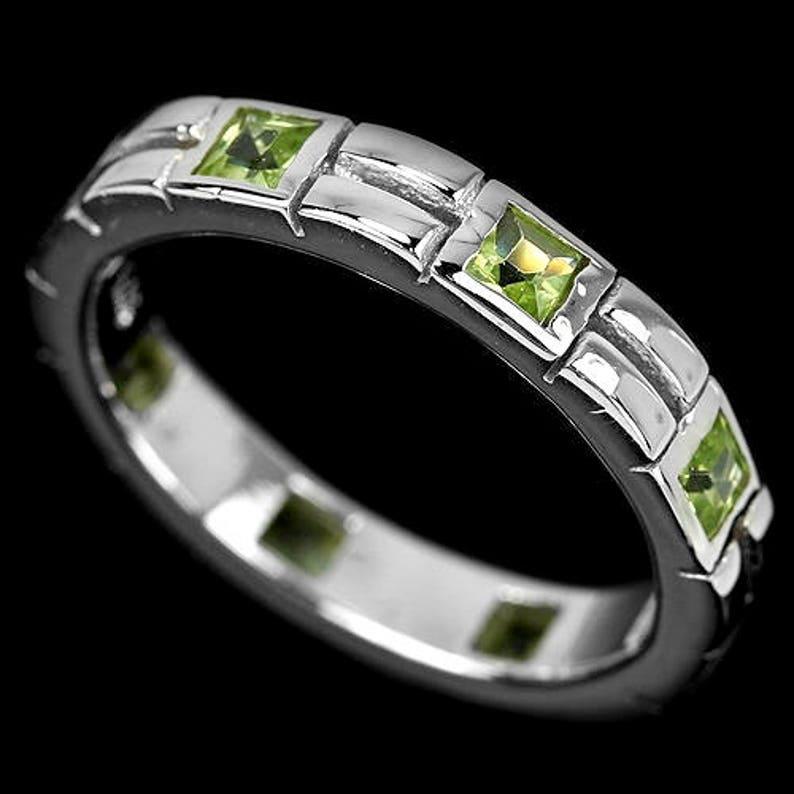 Truly Venusian Edwardian Flapper Downton Abbey Jewelry 14k White Gold Vermeil Tanzanite Art Deco style Full Band Ring USA 5.75, UK L