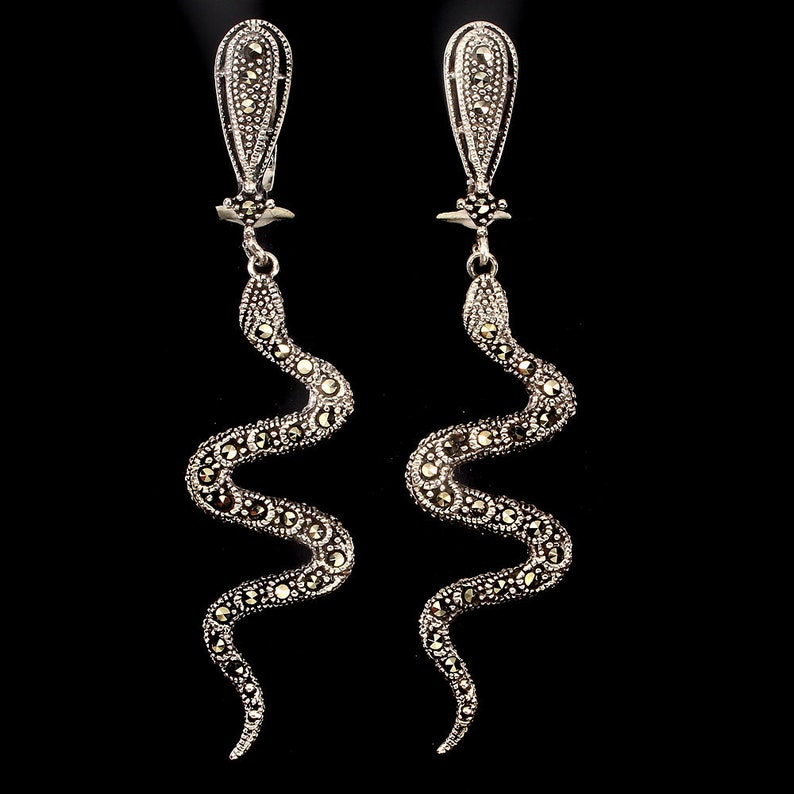 Egyptian Ancient Cleopatra Silver Cobra Snake Serpent Dangle Earrings Costume