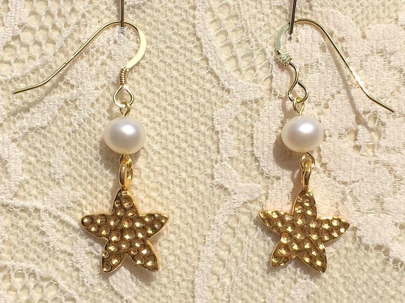 Truly Venusian Birth of Venus 24k Yellow Gold Vermeil Starfish /& Freshwater Pearl Dropper Earrings