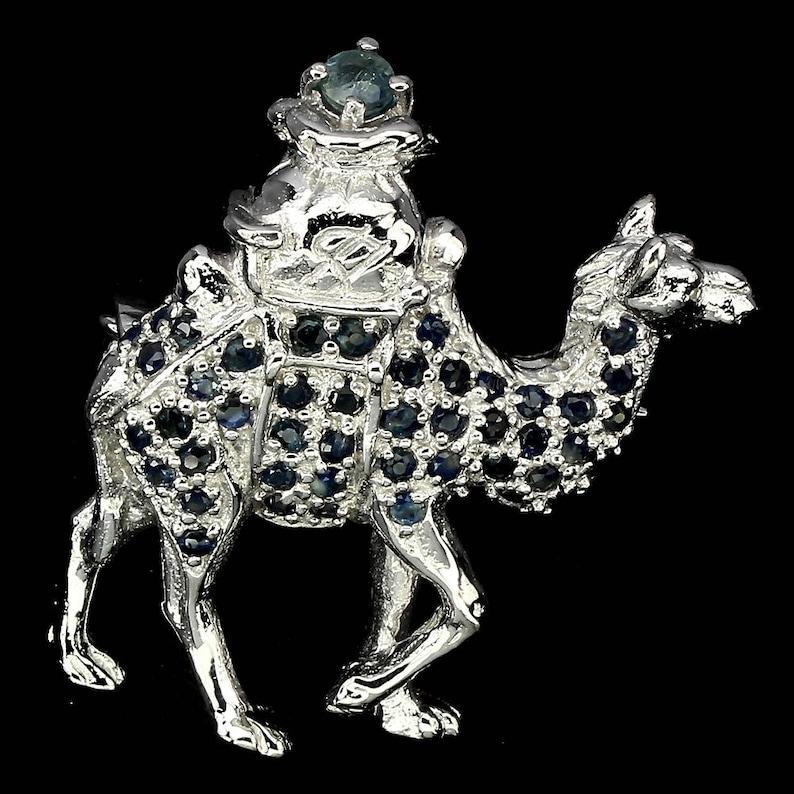 Victorian Naturalism Downton Abbey era 14k White Gold Vermeil Novelty Sapphire Camel Brooch Truly Venusian
