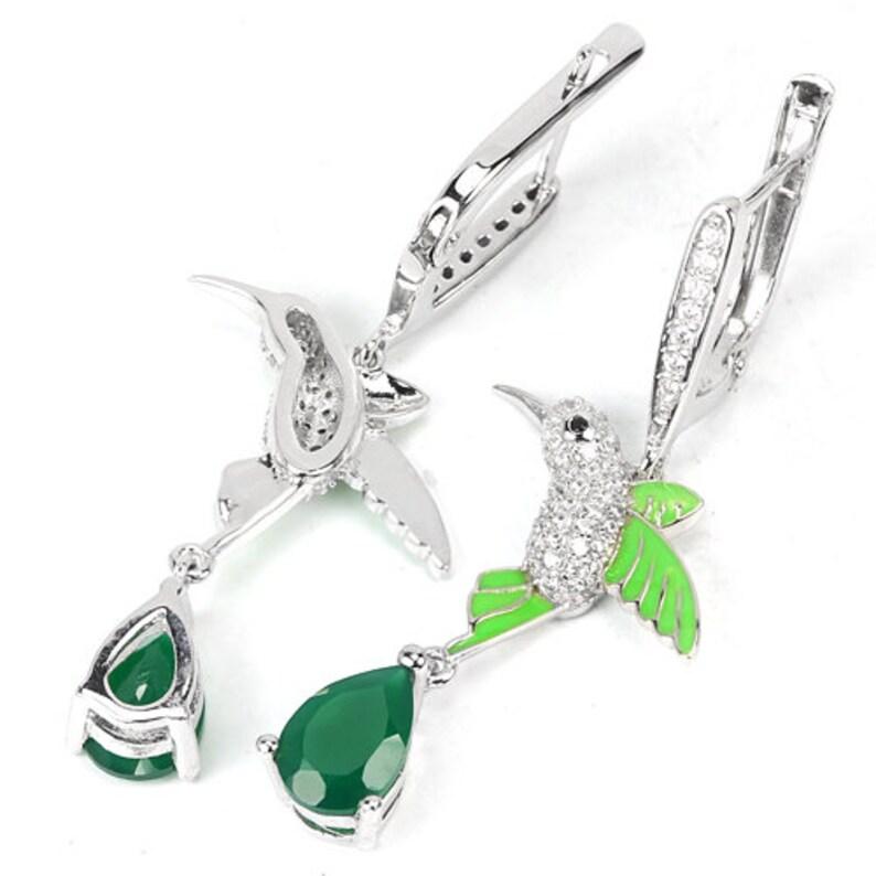 Truly Venusian Edwardian Naturalism 14k White Gold Vermeil Aventurine CZ Enamel Humming Bird Pendant Necklace /& Earrings Set
