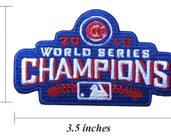 """Chicago Cubs World Series Champions 3.5"""" Embroidered Iron On Patch."""