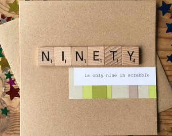 90th Birthday Card Only Nine In Scrabble Handmade Ninety Funny Wooden Tiles