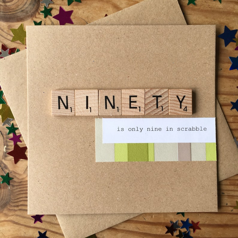 90th Birthday Card Only Nine In Scrabble Handmade Ninety