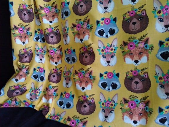 Flora & Fauna, 100% Cotton Fabric by Yard, Flower Crown Forest Animals, on