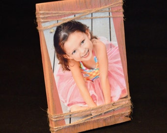 5x8 Rustic Wood Frame 15.00 custom order Pink Chevron Frame with Mini Clothespin Heart frame