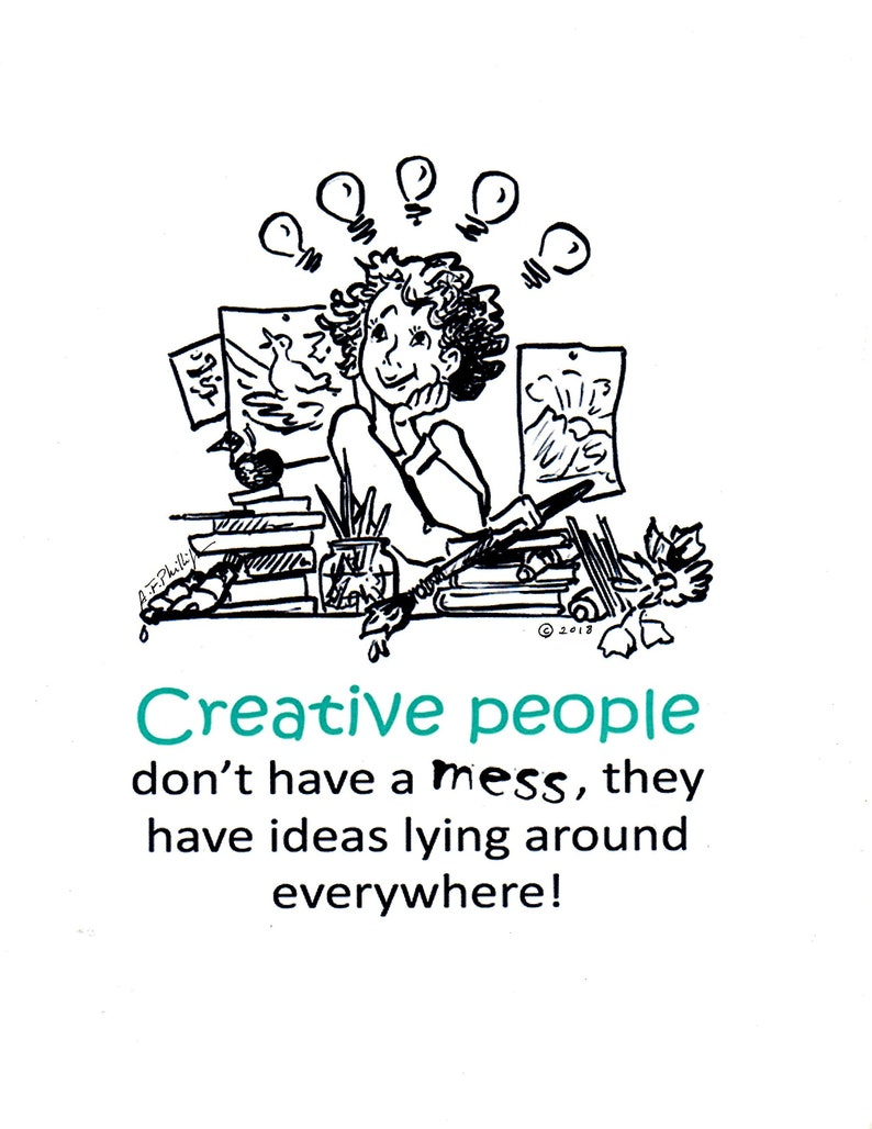 Creative People Illustrated Quote Art Humor Inspirational Etsy