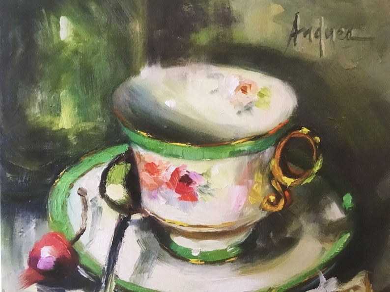 Unframed on Archival Watercolor Paper. Quality Giclee Print of Green Cup /& Cherries