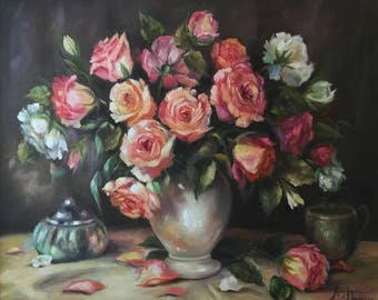 Rhapsody in Pink and White, 20x24 Original Oil on Canvas.