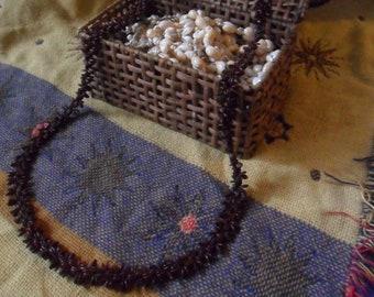 Vintage 54 Inch Traditional Hawaiian Koa Seed Lei Necklace