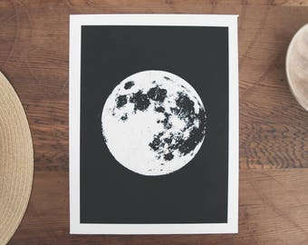 Full Moon Print, Poster, Digital Download, Screenprint, Spiritual, Black and White Prints, Boho Decor, Bohemian, Large Wall Art, Space