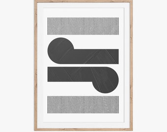 Minimal Abstract Geometric Koru Print. Download instantly and print from home.