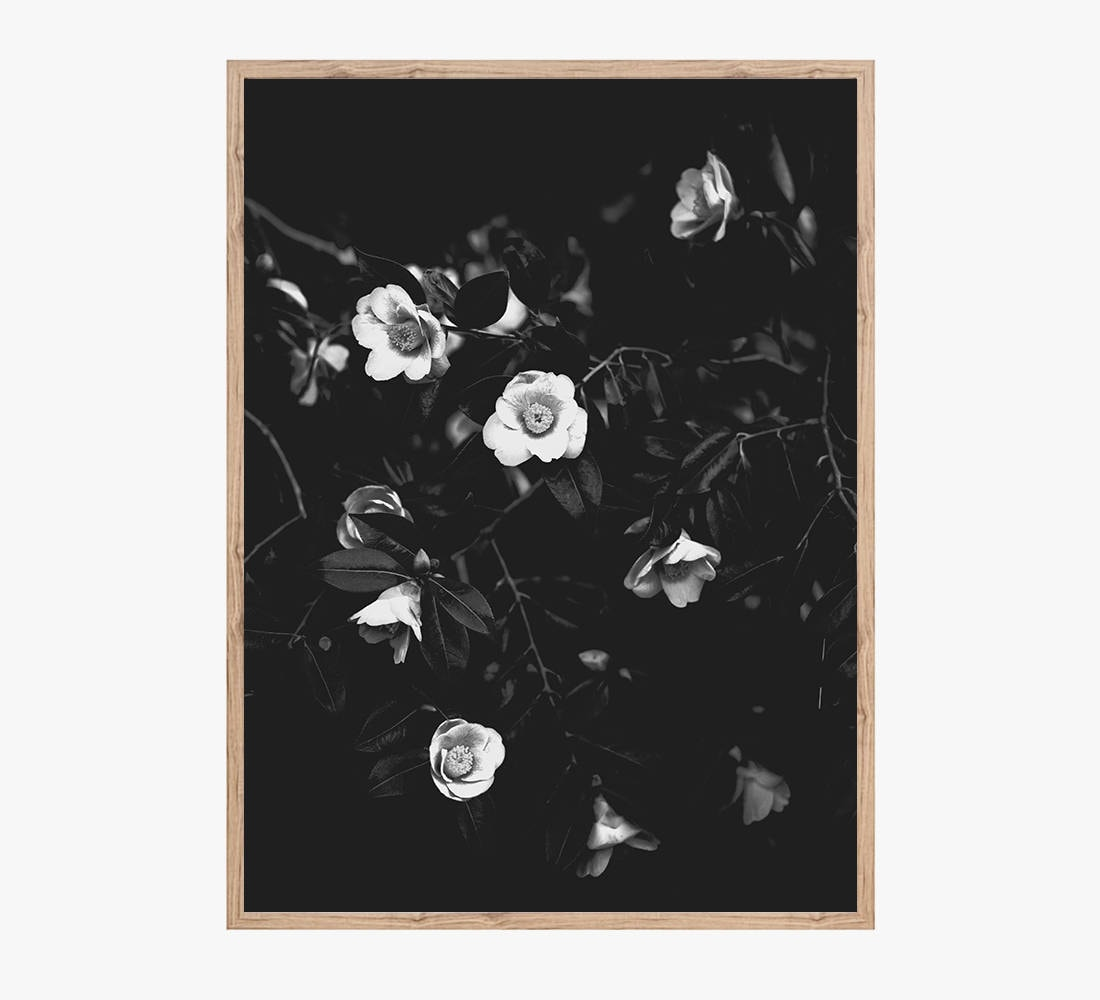 Flowers Art Print Printable Wall Art Black And White Wall Etsy