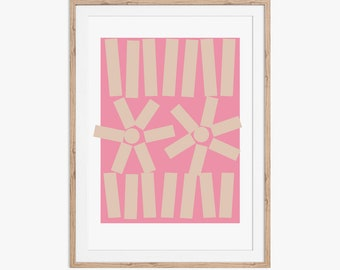 Pattern Print Pink. An abstract geometric pattern in Pink and Beige. Available as an instant digital download.