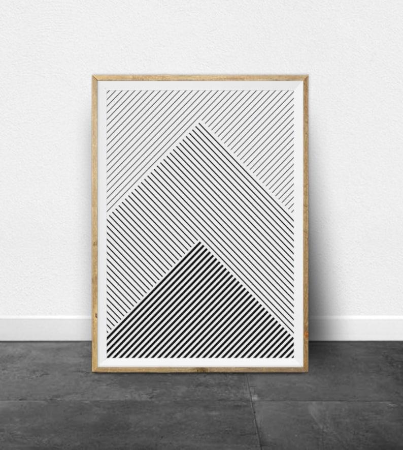 Geometric Print Geometric Art Black and White Stripes image 0