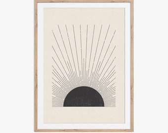 Sun Illustration. Mid century modern, block print style printable art in neutral colors. Download instantly and print from home.