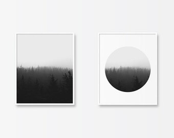 Black and White Print Set, Black and White Photography, Printable Art, Forest Print, Trees, Art Set, Circle Print, Minimalist Art, Dip Dye