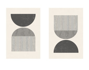Mid century style woodblock print in classic geometric shapes and neutral colors. Download instantly and print from home.