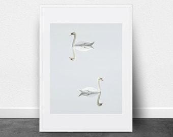 Modern Swan Print, Printable Art, Photography Print, Minimalist Art, Blues, Grays, Birds, Nature, Printable Wall Decor
