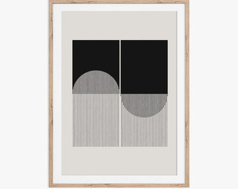The Koru Wave. An abstract geometric mid-century modern style design. Download instantly and print from home.