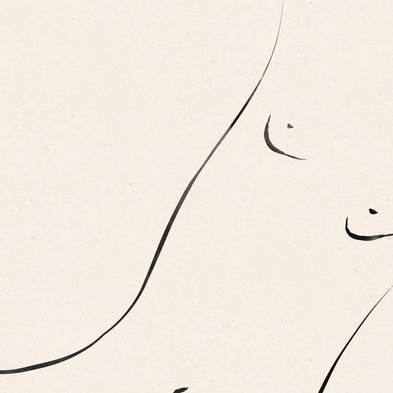 Ink on creased vintage paper design Minimalist nude sketch Download the files and print from home.