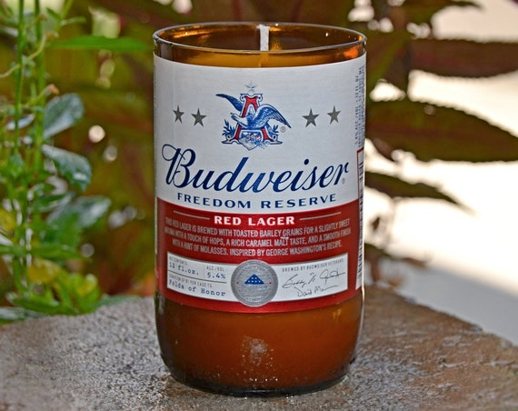 Budweiser Beer Bottle Candle - Budweiser Freedom Reserve Red Lager limited edition candle made with soy wax