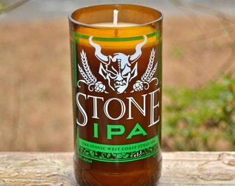 Stone IPA craft beer bottle recycled into a candle made with soy wax