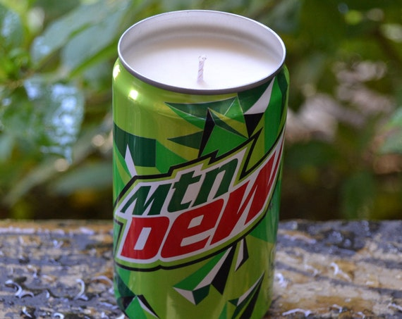 Mountain Dew CANdle made from a discarded Mtn Dew can