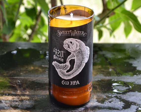 Sweetwater 420 Strain G13 IPA craft beer bottle candle