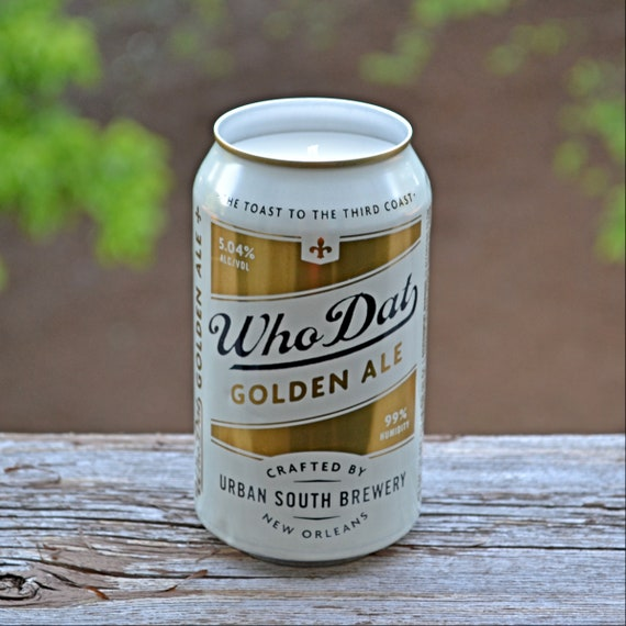 Who Dat Golden Ale beer can CANdle upcycled from a discarded beer can