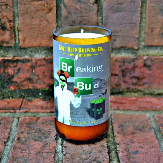 Breaking Bud craft beer bottle candle by Knee Deep Brewing Co (22 oz. bomber) made with soy wax