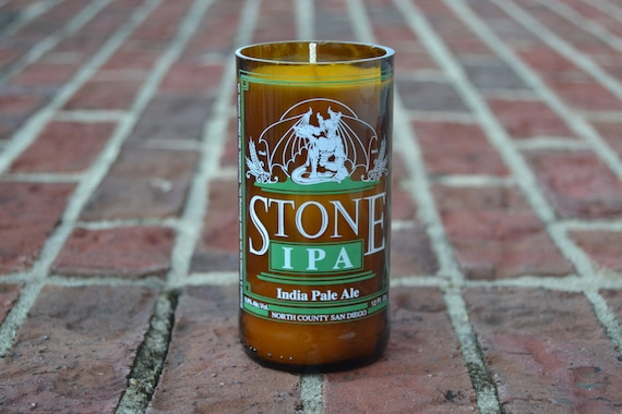 Stone IPA Craft Beer Bottle Candle made with soy wax