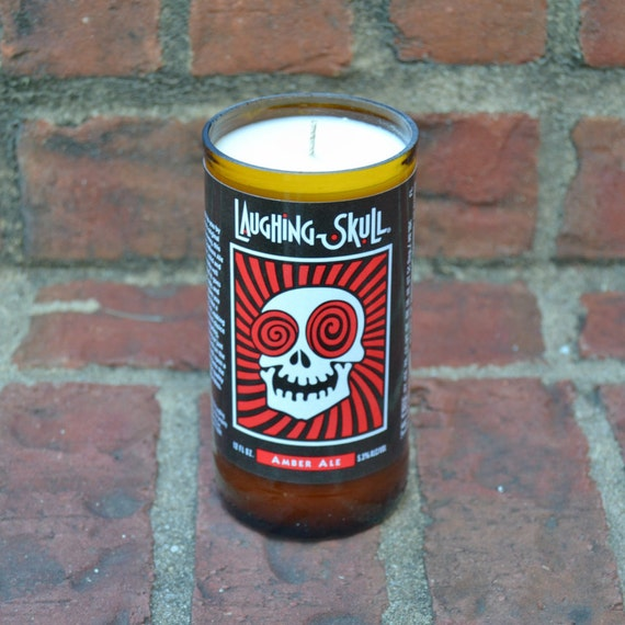Laughing Skull Amber Beer Bottle Candle