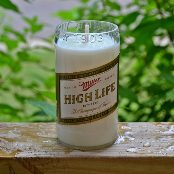 Miller High Life beer bottle candle made with soy wax