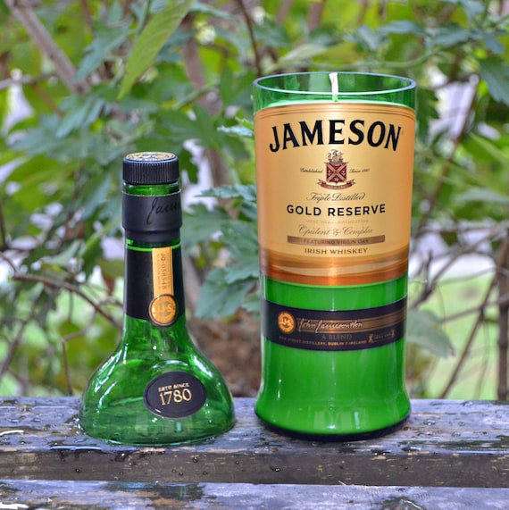 Jameson Gold Reserve Irish Whiskey Bottle Candle made with soy wax