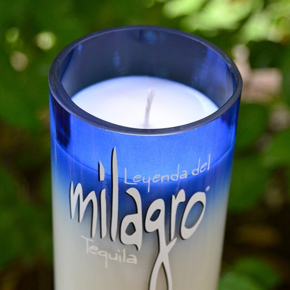 Milagro tequila bottle upcycled into a soy wax candle