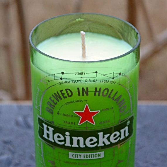 Heineken City Edition beer bottle candle