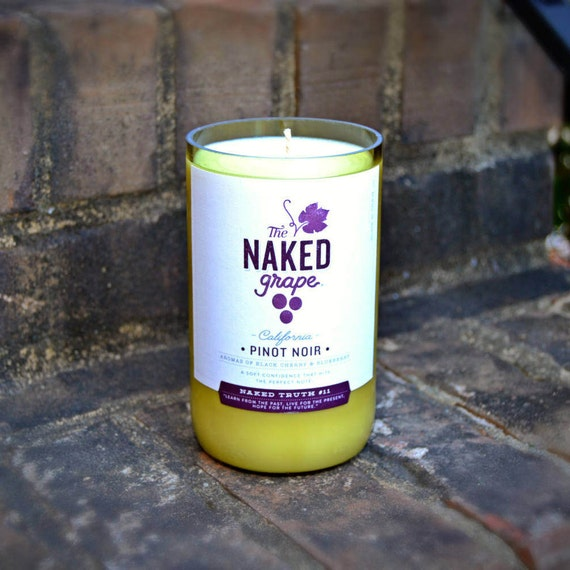 The Naked Grape Pinot Noir wine bottle candle made with soy wax