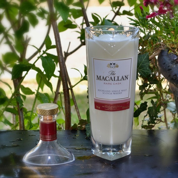 Upcycled Macallen Singe Malt Scotch Whisky Bottle Candle - FREE SHIPPING