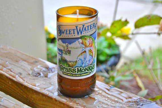 Sweetwater Grass Monkey craft beer bottle candle made with soy wax