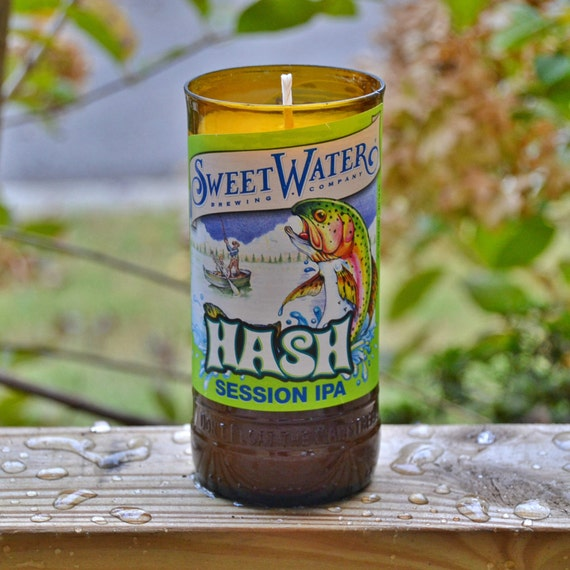 Sweetwater Hash Session IPA craft beer bottle candle made with soy wax