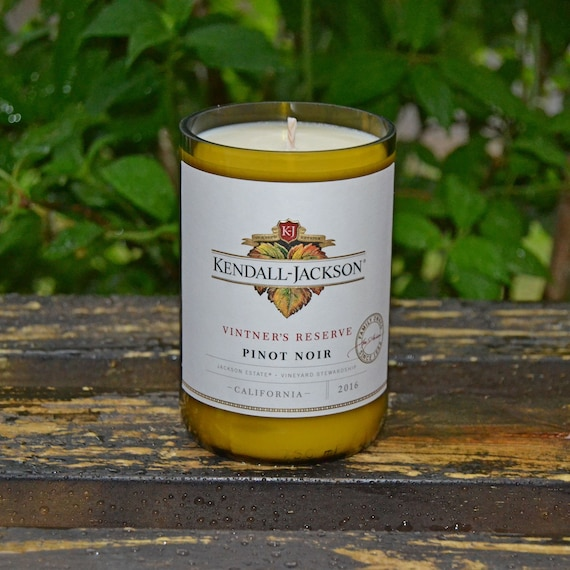 Kendall-Jackson Pinot Noir wine bottle candle made with soy wax
