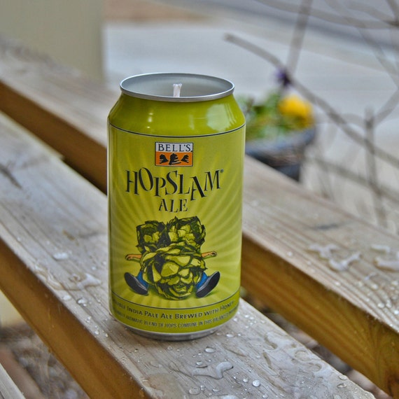 Bell's Hopslam CANdle upcycled from a discarded beer can