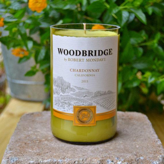 Upcycled Woodbridge Chardonnay Wine Bottle Candle