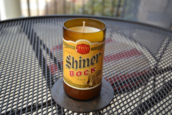 Shiner Bock Beer Bottle Candle