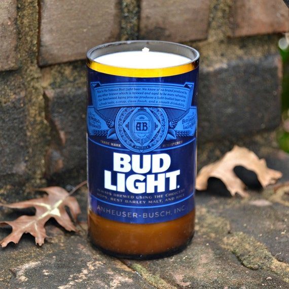 Bud Light beer bottle candle made with soy wax
