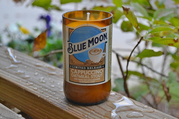 Blue Moon Cappuccino Oatmeal Stout Beer Bottle Candle made with soy wax (Limited Release)